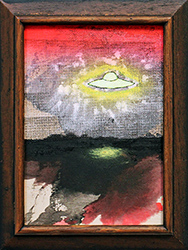 NED EVANS + DAVID LLOYD - UFO #7, unidentified flying object, collage, painting, abstract