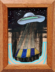 NED EVANS + DAVID LLOYD - UFO #17, unidentified flying object, collage, painting, abstract