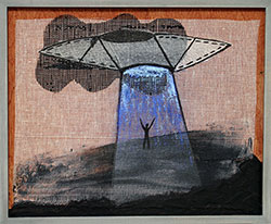NED EVANS and DAVID LLOYD - UFO #44, unidentified flying object, collage, painting, abstract