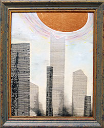 NED EVANS + DAVID LLOYD - UFO #8, unidentified flying object, collage, painting, abstract