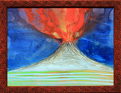 NED EVANS - V-76, volcano, collage, painting, abstract