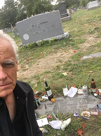 Craig Krull at Jack Kerouac's gravesite in Lowell, MA, 2015