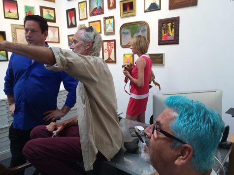 Andy Moses, Ned Evans, Rebecca Cox, and David Lloyd at the opening for Volcano, 2015
