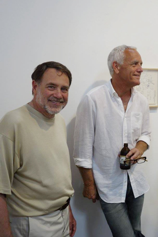 Howard Fox and Craig Krull at the opening for Carlos Almaraz's Journal Drawings and Poems 1969-1972, photo by Marlene Picard, 2015