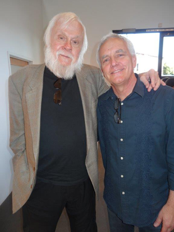 John Baldessari and Craig Krull at Alexis Smith's opening at Craig Krull Gallery, 2013
