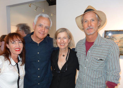 Karen Hirshan, Craig Krull, D.J. Hall, and Ned Evans at Alexis Smith's opening at Craig Krull Gallery