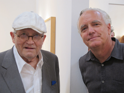 David Hockney and Craig Krull at Don Bachardy's reception at Craig Krull Gallery