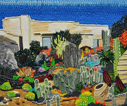 CAROLINE LARSEN - Desert Landscape, oil painting, house, bungalow, succulents, California