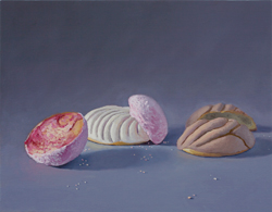 EMMANUEL GALVEZ - Galleta de Chochitos, Muffin y Concha, painting, food, still life