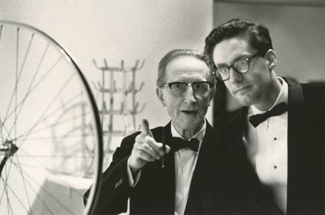Julian wasser marcel duchamp and walter hopps at pasadena art museum